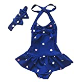 Baby Girls One Piece Swimsuits,Sleeveless Dot Bowknot Beach Bathing Set with Headband (18-24 Months, Circle Dot-Blue)