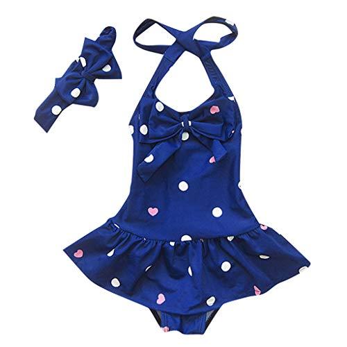 TEVEQ Toddler Baby Girls Swimsuit Sleeveless Circle Dot Bowknot Headband Beach Swimwear Blue ()