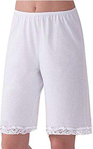 (TUSFTAY Women's Pettipants Culotte Slip Bloomers Split Skirt Lingerie Satin Pant Slip with Lace Trim (XXXL, White))