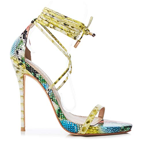 Yellow Snake Lace up Stiletto High Heel Sandals US9 ()