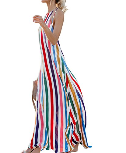 Women Beach Sundress Sleeveless Bohemian Sripes Printed Backless Party Maxi Dress (Rainbow, L)