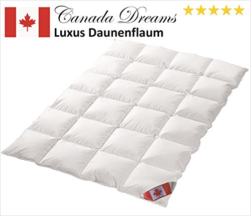 Canada Dreams Plus Luxus Winter Daunendecke Wärmegrad 4 Luxus Daunenflaum ☆☆☆☆☆ (135x200 cm)