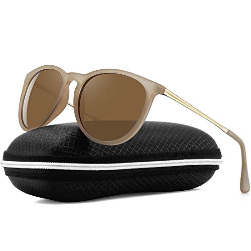 WOWSUN Polarized Sunglasses for Women Girl Classic Vintage Round Style Matte Khaki Frame Tinted Brown Lens (Best Polarized Sunglasses 2019)