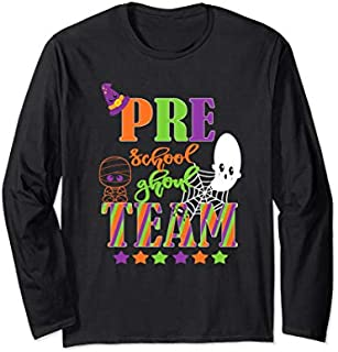 Pre-School Halloween Teacher Student Cute Ghoul Team Pre-K Long Sleeve T-shirt | Size S - 5XL