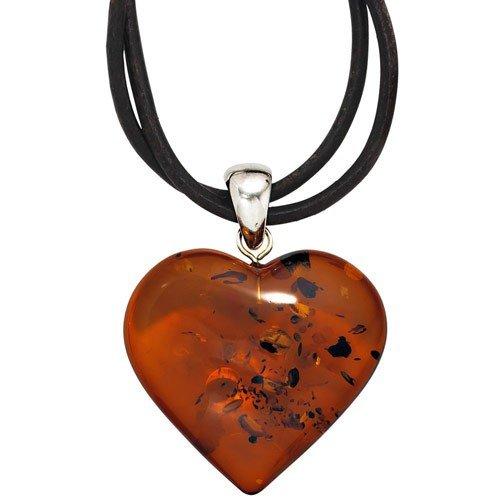 Pendentif en forme de cœur en argent 925 et ambre bernsteinanhänger ambre