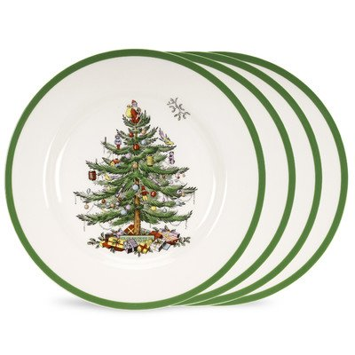 Spode Christmas Tree Set of 4 Dinner Plates