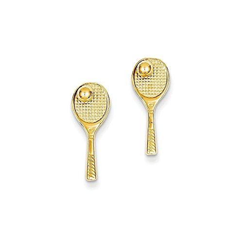 (14k Gold Tennis Racquet w/Ball Post Earrings (0.71 in x 0.28 in))