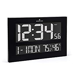 Marathon CL030059 The Reverse Clock From the Designer Collection. Jumbo Atomic Wall Clock with Date, Indoor Temperature and Humidity. (Black)