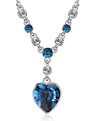XZP Women Gift Necklace the Heart of Ocean Blue Crystal Pendant Necklace Crystals from Swarovski