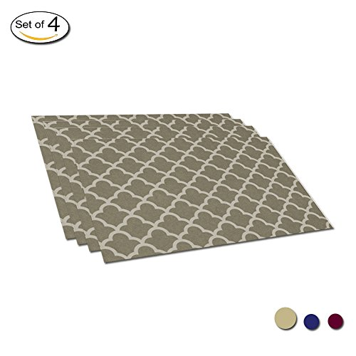 Eforcurtain Heat Resistant Cute Geometric Floral Fabric Placemats Waterproof 13 x 19 Inch, Reusable Oil Proof Table Mat Set of 4 Kitchen Accessories, Khaki for $<!--$19.99-->