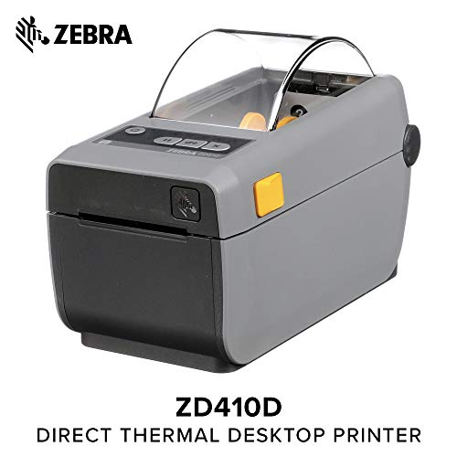 Zebra - ZD410 Wireless Direct Thermal Desktop Printer for Labels, Receipts, Barcodes, Tags, and Wrist Bands - Print Width of 2 in - USB, Bluetooth, and Wifi Connectivity