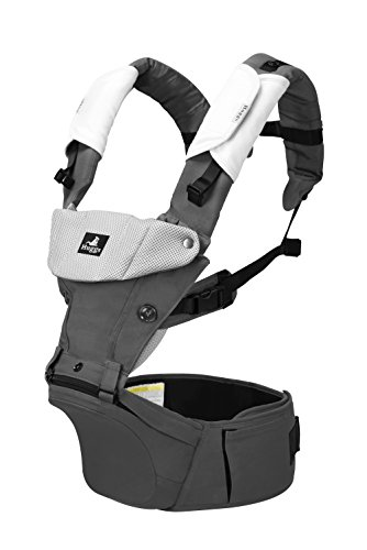 Abiie HUGGS Baby Carrier Hip Seat - Approved by U.S. Safety Standards - Healthy Sitting Position (M-position) - Front Facing, Hip Hugger, Back Baby Carrier - 100% Cotton, 2-Year Warranty (Grey) by Abiie