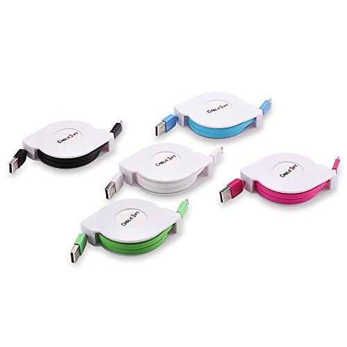 Sudroid 3M Charge Cable Pack of 5 Multicolor Retractable Micro USB Flat Charger Sync Data Cable Cord for Android Phones(5pcs) by Sudroid