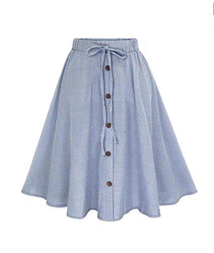 Women Love Stripe Skirt, Lady Girl Lace Single-Breasted Plain Skater Flared High Waist Skirt (S)