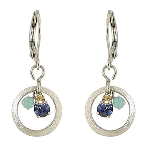 Silver-Plated Textured Hoop Cluster Austrian Crystal Leverback Dangle Earrings (Green Multi)