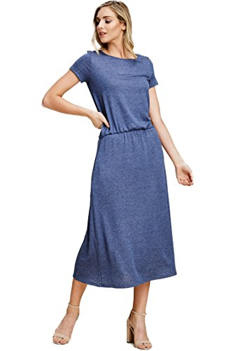Slanted Pocket - Annabelle Women's 2 Tone Knitted Print Maxi Length Plus Size Dress Featuring Round Neck Quarter Sleeve with Adjusted Side Slanted Pockets Heather-Denim XXX-Large D5528P