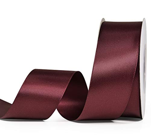 YAMA Double Face Satin Ribbon - 1 1/2 Inch 25 Yards for Gift Wrapping Ribbons Roll, Burgundy