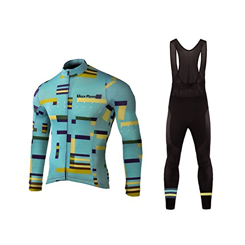 Uglyfrog Men's Cycling Clothing Suit Winter Thermal Fleece Sportswear Set Long Sleeve Windproof Jersey Coat Jacket + 3D Padded Pants Trousers Performance Cycling Clothes