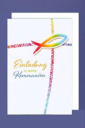 Kommunion Einladungen Karte 5er Mehrstückpackung Regenbogen Farben Fisch 5 Doppel Karten 15x11cm
