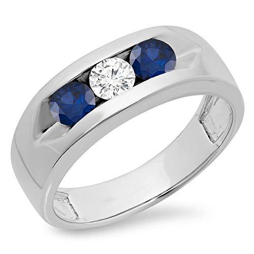 Dazzlingrock Collection 14K Round Blue Sapphire & White Diamond Men's Channel Set 3 Stone Wedding Band, White Gold, Size 10