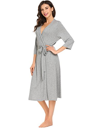 Ekouaer Warm Bathrobe Women's Cotton Robes Loungewear ?Light Grey,Large