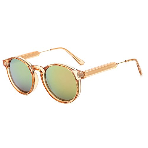 SUERTREE Vintage 80s Sunglasses Women Men Fashion Small Round Sun Glasses Classic Shades Cute Eyewear Retro Eyeglasses Half Metal Arms Rimmed UV400 Protection for Travel Champagne Frame Pink - Rimmed Glasses Steel