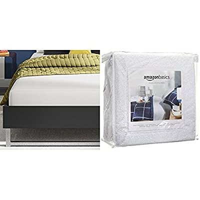 Signature Sleep Memoir 8 Inch Memory Foam Mattress with CertiPUR-US certified foam, Twin with AmazonBasics Hypoallergenic Vinyl-Free Waterproof Mattress Protector, Twin