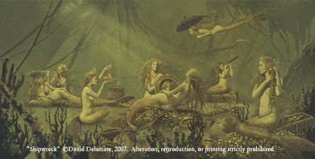 (SHIPWRECK David Delamare Mermaid Fantasy Art Print)