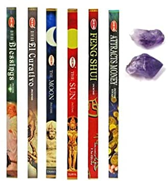5 Variety Incense Packs- (Plus 3 More) the Moon, the Sun, Feng Shui,  Attract Money, Devine Healing Extra
