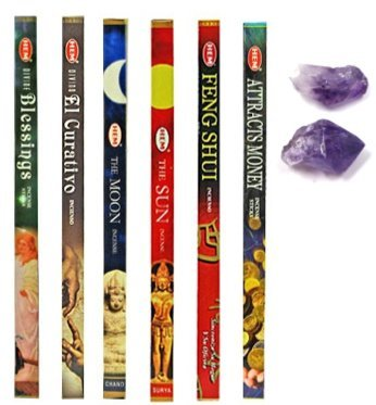 5 Variety Incense Packs- (Plus 3 More) the Moon, the Sun, Feng Shui, Attract Money, Devine Healing Extra Devine Blessings Incense and (2) Small Amathyst Crystal for Healing and Getting Rid of Addictions (Money Incense Pack)