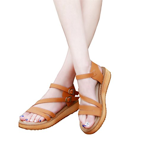 Gladiator Smilun Toe Strap Open Double Sandal Roman Brown Shoes Sandals Lady's Toe Cross Strappy Wedge P8xPqHw