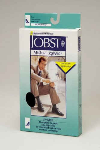 Jobst For Men Knee High 20-30mmHg Ribbed Closed Toe, XL, Navy ()