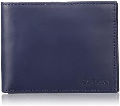 Calvin Klein Men's RFID Blocking Leather Bookfold Wallet With Key Fob