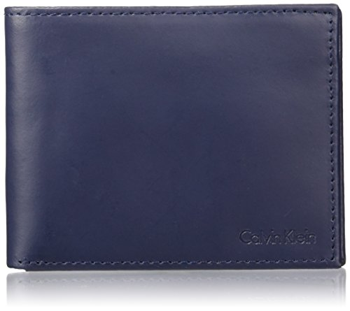 Calvin Klein Men's Blocking Leather Bifold Wallet, RFID navy, One Size