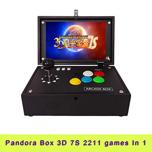 10.1 inch HD LCD Screen DIY 1080P Arcade Emulator Console Cabinet Portable Metal Casing 3D Pandora Box 7S 2211 Games in 1 Retro Arcade Video Game Console Home Flip 1up Single Player can Charging