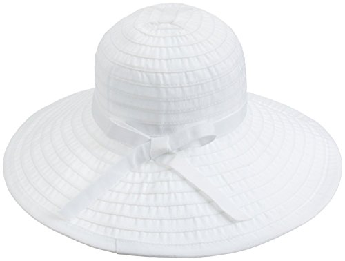 simplicity-womens-summer-upf-50-roll-up-floppy-beach-hat-with-ribbon-white