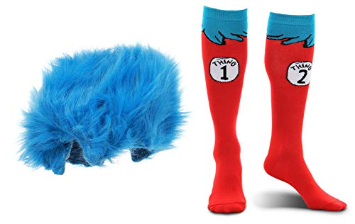 elope Dr. Seuss Thing 1&2 Plush Wig and Costume Socks Kids Kit Bundle