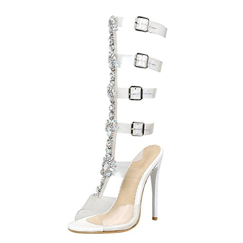 Carolbar Women's Chic Rhinestones High Heel Peep Toe Buckles Sandals White ZH1YENIS