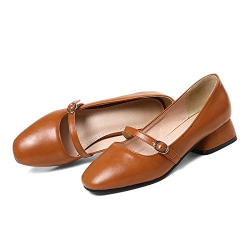 GAOLIM Zapatos De Mujer Primavera Solo Zapatos Femeninos De Color Sólido Partido Correa Ranurada Con Zapatos De Faro Con Negrita En La Boca. Brown