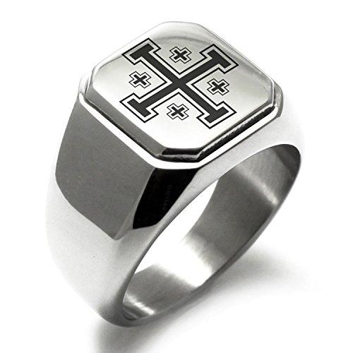 Stainless Steel Jerusalem Cross Symbol Square Flat Top Biker Style Polished Ring, Size 9
