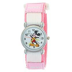TimerMall Kids Mickey Velcro Pink Nylon Quartz Analogue Disney Cartoon Time Teacher Watches