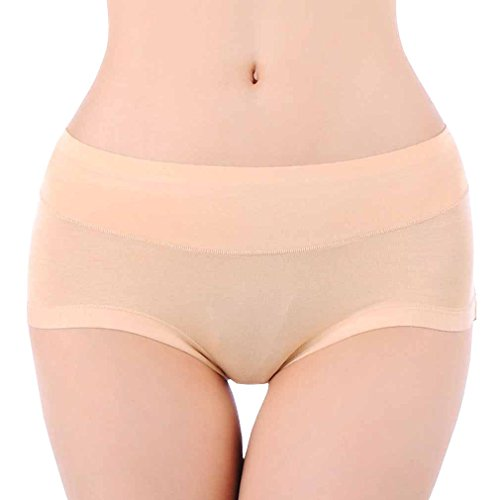Hoerev Womens Comfort Middle Waist Bamboo Fiber Brief Panty, Pack of 3