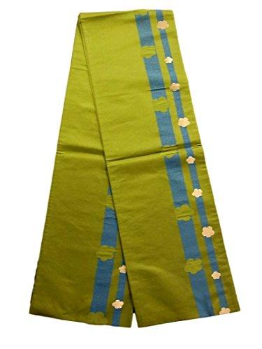 海里習熟度クリスマスリサイクル 袋帯  正絹 縞と梅の花