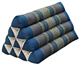 Thai triangular cushion, blue/grey, relaxation, beach, kapok, made in Thailand. (81900)