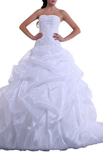 Organza Strapless A-line Skirt (Angel Formal Dresses Strapless Satin Organza Beading A-Line Wedding Dress(16,White))