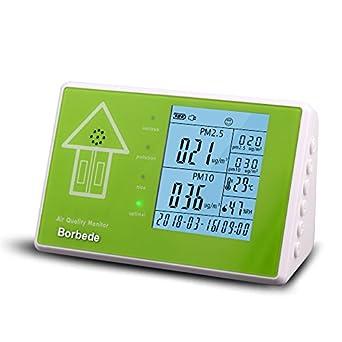 borbede pruebas de calidad del aire interior Monitor para pm2,5 PM10 formaldehído/HCHO tvoc, con fecha tiempo temperatura humedad, multifuncional detector ...