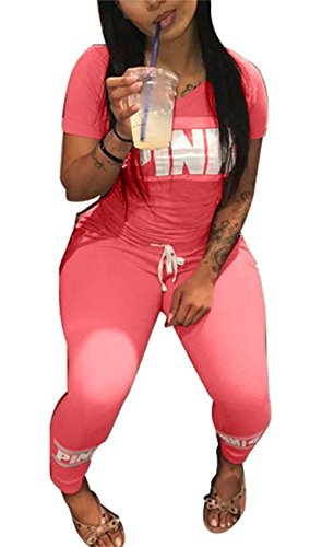 Molisry Women 'Pink'Word Letter Print V Neck Sweatshirt Long Pant Jumpsuits 2 Piece Outfits