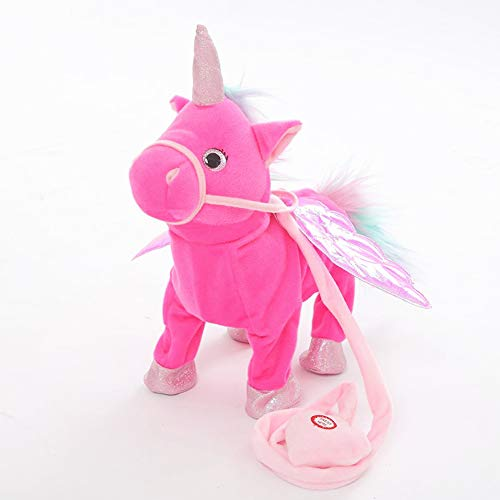 MeMoreCool Cute Plush Pony Toys Electronic Unicorn Toy | Singing Walking Musical Unicorn Soft Toys for Baby Girl Boy Kids (14 Inches), Rose Red ()