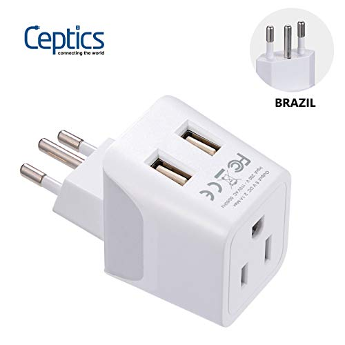 Brazil Travel Adapter Plug by Ceptics With Dual USB - USA Input - Type N - Ultra Compact - Perfect for Cell Phones, Laptop, Camera Chargers, iWatch and More (CTU-11C)