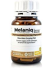 Melaniq Kosttillskott för hårpigmentering - återställer färgen i grått hår - melaninstöd - stoppar för tidigt grånande - anti-aging, naturbaserat, vegetarianskt, 1-månads lager